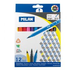 Viltpliiatsid MILAN fine kolmnurksed 12 värvi