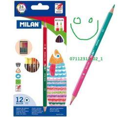Värvipliiatsid MILAN Bi Color kolmnurksed 12=24 värvi