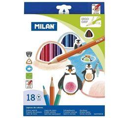 Värvipliiatsid MILAN kolmnurksed 18 värvi