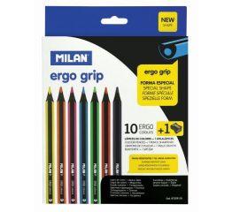 Värvipliiatsid MILAN ERGO 10 värvi + teritaja kolmnurksed