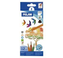Värvipliiatsid Milan akvarellitavad 12 tk, kolmnurksed