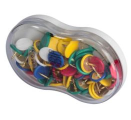 Knopkad, värvilised, 55 tk plastkarbis