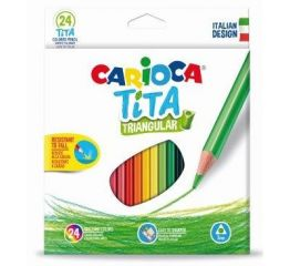 Värvipliiatsid CARIOCA TiTA 24 tk, kolmnurksed, põrutuskindlad