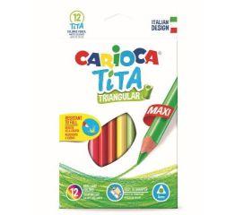 Värvipliiatsid CARIOCA TiTA MAXI 12 tk, kolmnurksed, põrutuskindlad