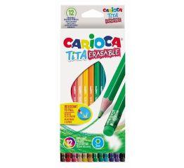 Värvipliiatsid CARIOCA TiTA 12 tk, kuusnurksed, kustukummiga