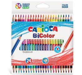 Värvipliiatsid CARIOCA BiColor , 24 tk=48 värvi, kolmnurksed