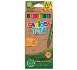 Värvipliiatsid CARIOCA Eco Family TiTA, kuusnurksed 12 tk papist karbis