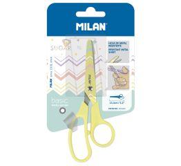 Käärid MILAN Pastel 13,4 cm, ümara otsaga, pastelne kollane, blistris