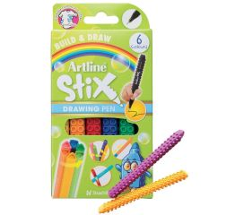 Viltpliiatsid Artline Stix 0,5 mm, 6 värvi karbis, ühendatavad