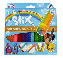 Viltpliiatsid Artline Stix 1,2mm, 12 värvi karbis, ühendatavad